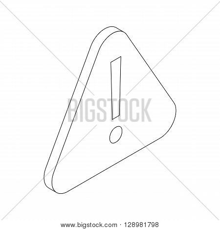 Hazard warning attention sign with exclamation mark symbol icon in isometric 3d style isolated on white background