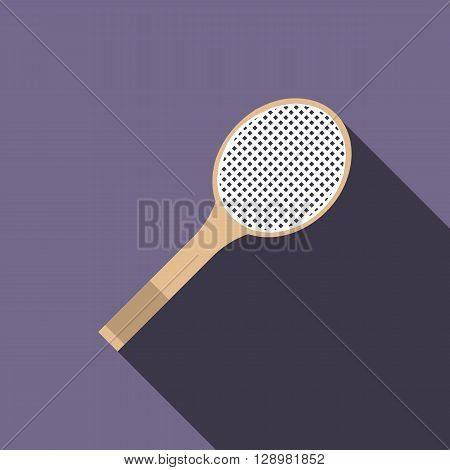 Tennis racquet icon in flat style on a violet background