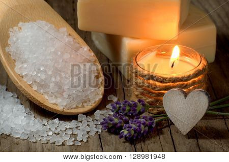 Natural spa setting with lavender and candle