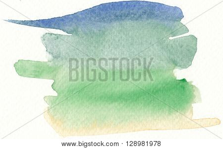 colorful watercolor brushstroke background in cold colors tones