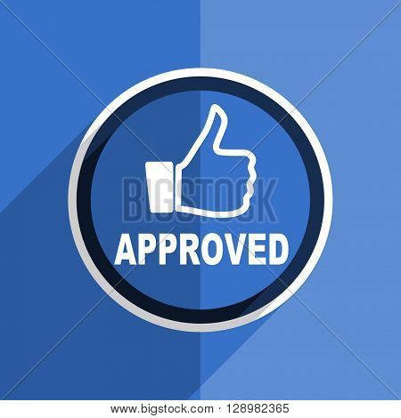 flat design blue approved web modern icon