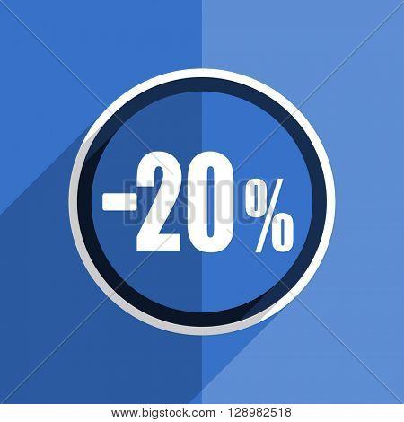 flat design blue 20 percent sale retail web modern icon