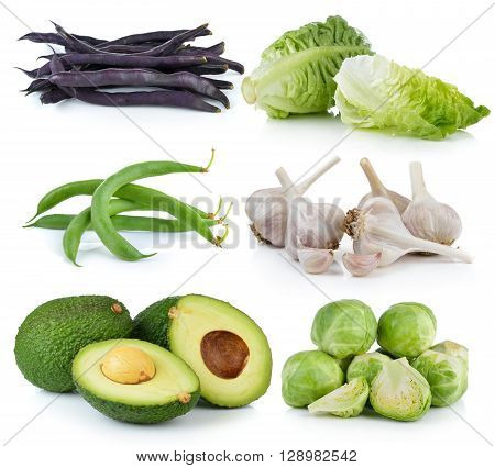 avocado Brussel Sprouts garlic baby cos Green beans Purple bean on white background
