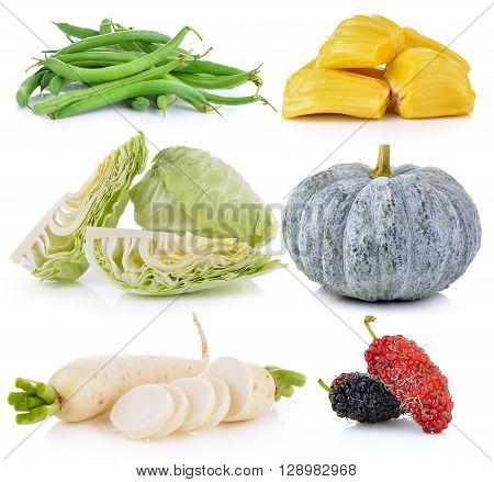 Daikon radishes jack fruit pumpkin Mulberry cabbage Green beans on white background