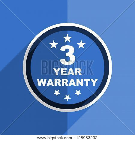 flat design blue warranty guarantee 3 year web modern icon