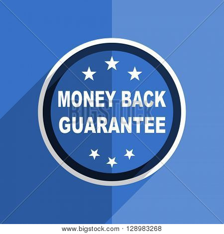 flat design blue money back guarantee web modern icon