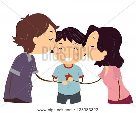 Stickman Illustration of Husband and Wife Kissing Their Son
