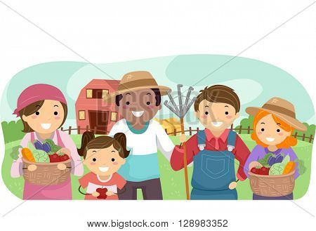 Stickman Illustration of Farmers Showing Their Produce