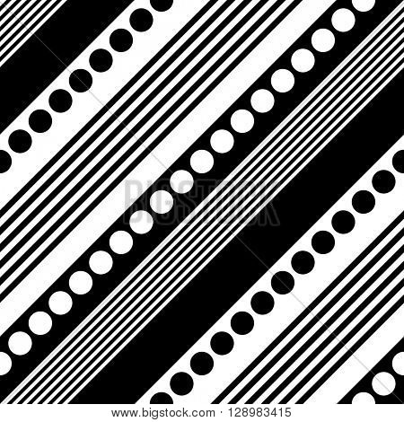 Seamless Diagonal Stripe and Circle Pattern. Vector Black and White Background. Abstract Striped Design. Diagonal Stripes with Lines and Circles