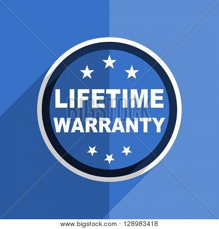 flat design blue lifetime warranty web modern icon