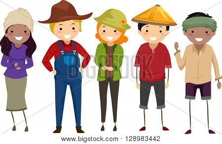 Stickman Illustration of Farmers of Different Races