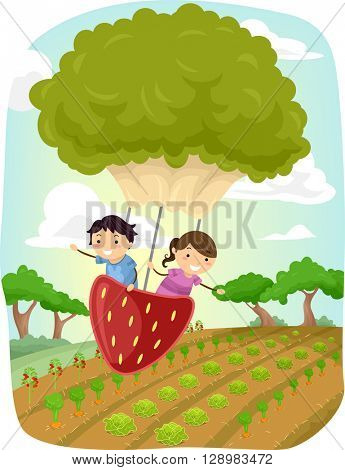 Stickman Illustration of Kids Riding a Strawberry and Lettuce Shaped Balloon