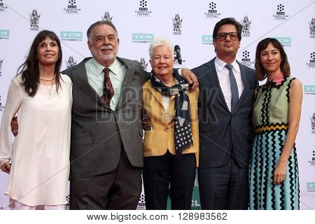 LOS ANGELES - APR 29:  Talia Shire, FF Coppola, Eleanor Coppola, Roman Coppola, Gia Coppola at the F F Coppola Hand and Foot Print Ceremony at the Chinese Theater on April 29, 2016 in Los Angeles, CA