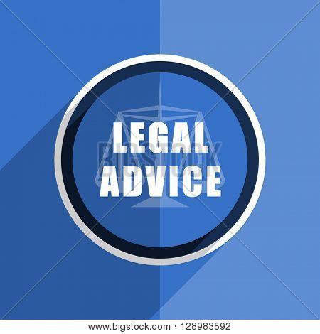 flat design blue legal advice web modern icon