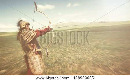 Full Armored Archer Aiming To Shoot Concept