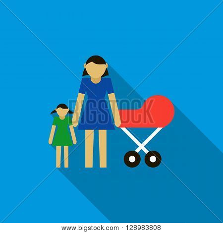 Mother with daughter and baby in red pram icon in flat style on a blue background