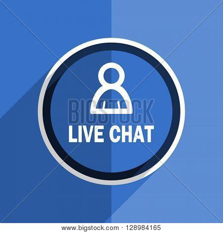 flat design blue live chat web modern icon