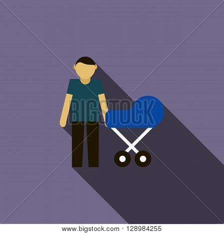 Father with baby in stroller icon in flat style on a violet background