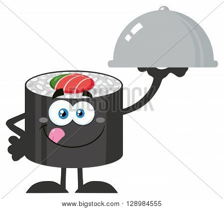 Sushi Roll Cartoon Mascot Character Licking His Lips And Holding A Cloche Platter