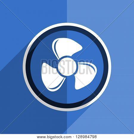 flat design blue fan web modern icon