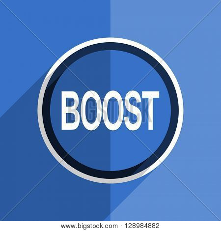 flat design blue boost web modern icon