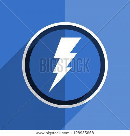 flat design blue bolt web modern icon