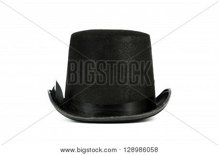 Black Tall Hat On White Background