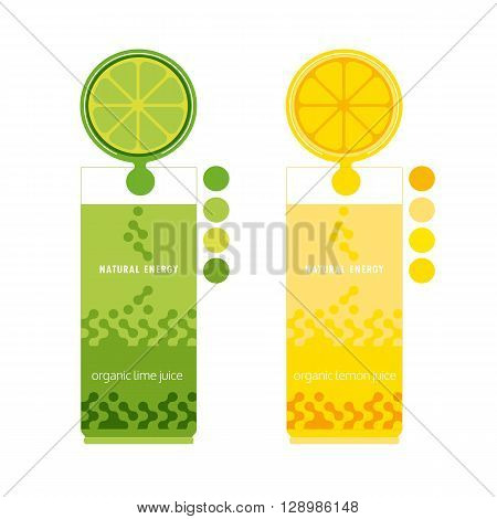 Citrus Fruits. Sliced lemon lime. Citrus wedges. Fresh natural juice Concept. Organic fruit. Tropical citrus. Natural fruit with vitamin. Lemon lime juice drop. Vector Illustration