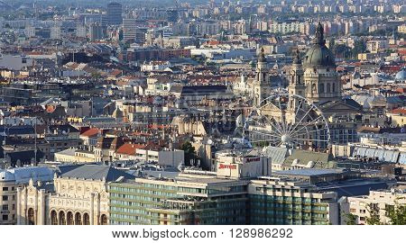 BUDAPEST HUNGARY - JULY 09: Aerial Cityscape in Budapest on JULY 09 2015. Sunny Afternoon City Panorama From Citadella in Budapest Hungary.