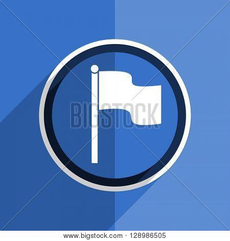 flat design blue flag web modern icon