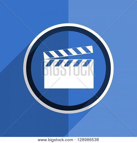 flat design blue video web modern icon
