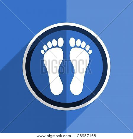 flat design blue foot web modern icon