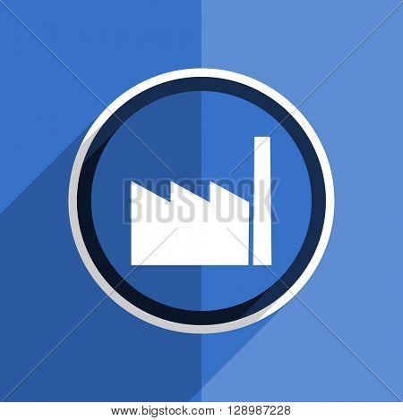 flat design blue factory web modern icon
