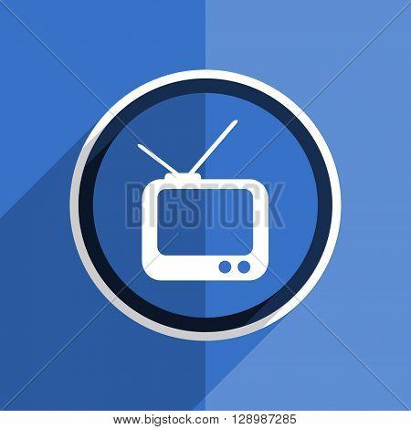 flat design blue tv web modern icon