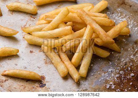 Fries On Steel Plate With Salt
