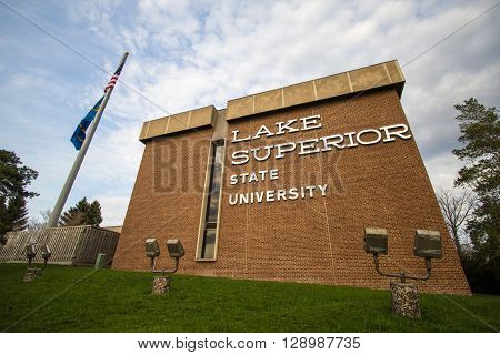 Sault Ste. Marie, Michigan, USA - May 6, 2016: Exterior of a building housing classrooms on the campus of Lake Superior State University. LSSU is the smallest university in Michigan and is located in Michigan's Upper Peninsula.