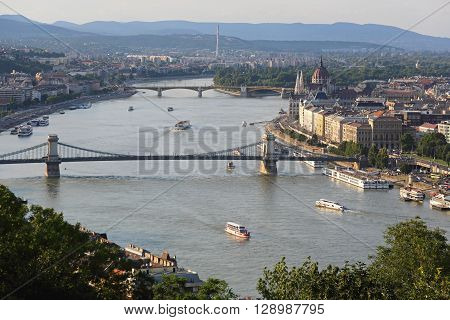 BUDAPEST HUNGARY - JULY 09: River Danube Cityscape in Budapest on JULY 09 2015. Afternoon City Panorama From Citadella in Budapest Hungary.