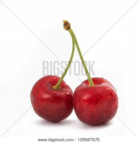 sweet cherries on a white background, greengrocery, group,