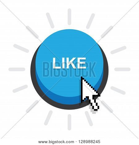 Blue Button LikeLike Icon Vector on white background