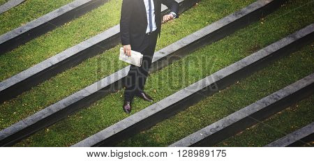 Business Man Check Time Outdoors Concept