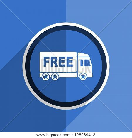 flat design blue free delivery web modern icon