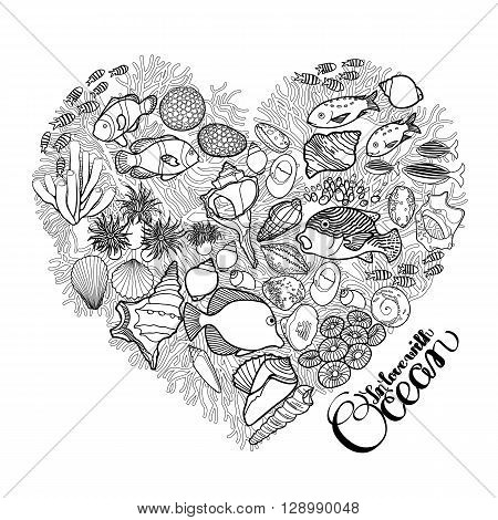 Ocean flora and fauna in the shape of heart. Fish, seashells, seaweed and corals drawn in line art style on white background. Coloring book page design