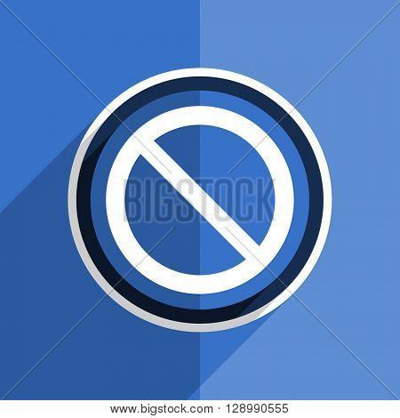 flat design blue access denied web modern icon