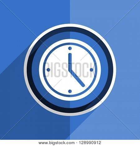 flat design blue time web modern icon