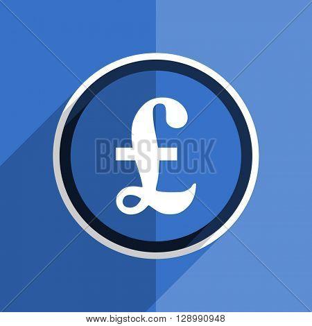 flat design blue pound web modern icon