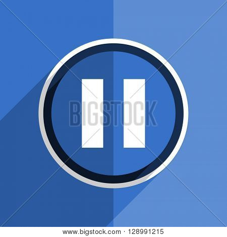 flat design blue pause web modern icon