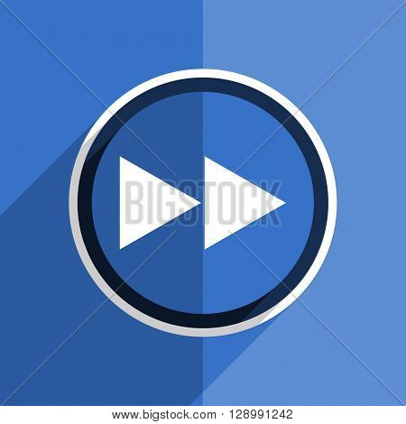 flat design blue rewind web modern icon