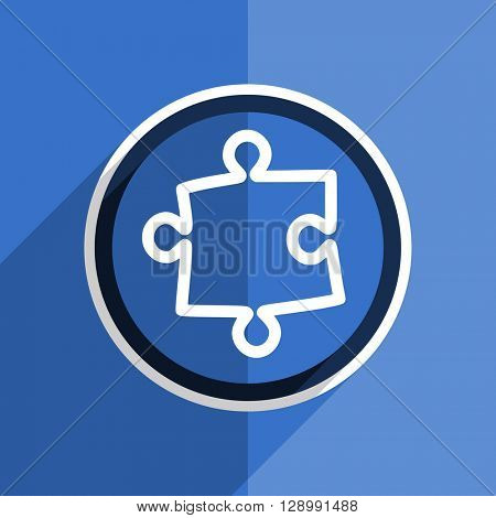 flat design blue puzzle web modern icon
