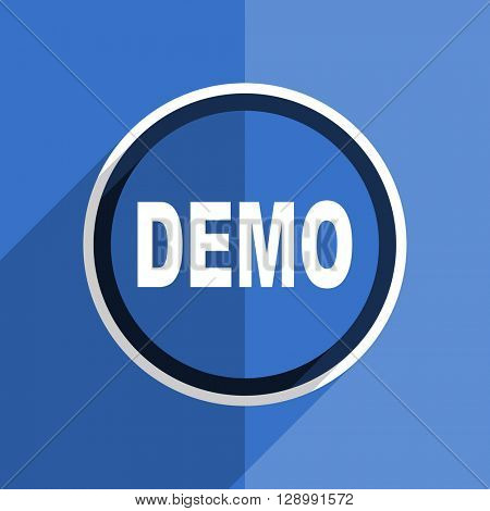 flat design blue demo web modern icon