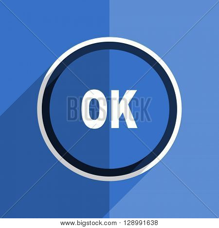 flat design blue ok web modern icon